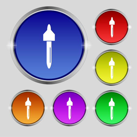 eye pipette: dropper sign icon. pipette symbol. Set of colored buttons. illustration