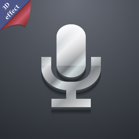 talk show: microphone icon symbol. 3D style. Trendy, modern design with space for your text illustration. Rastrized copy Stock Photo