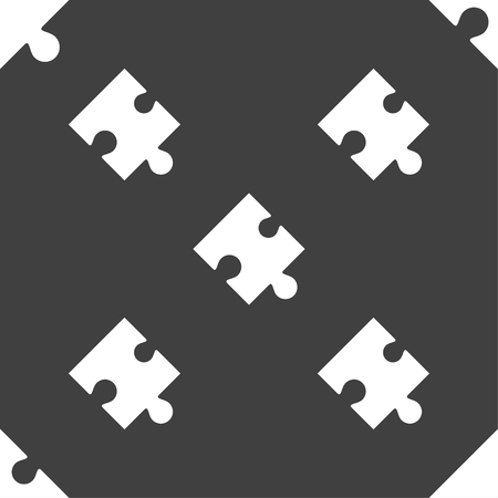 puzzle corners: Puzzle piece icon sign. Seamless pattern on a gray background. illustration