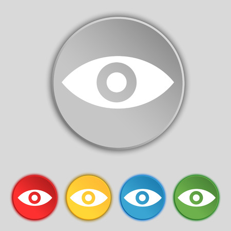 the sixth sense: Eye, Publish content, sixth sense, intuition icon sign. Symbol on five flat buttons. illustration