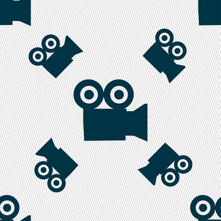 journalistic: video camera icon sign. Seamless pattern with geometric texture. illustration