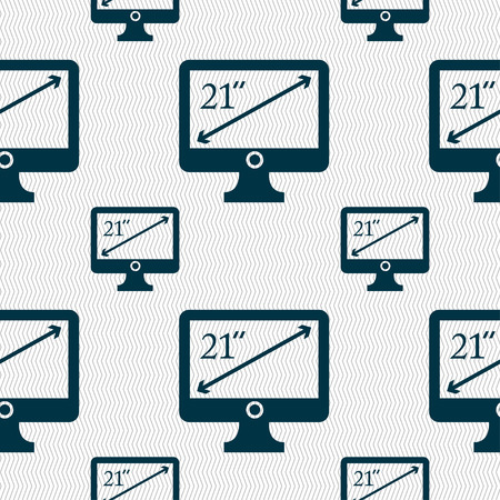 21: diagonal of the monitor 21 inches icon sign. Seamless pattern with geometric texture. illustration Stock Photo