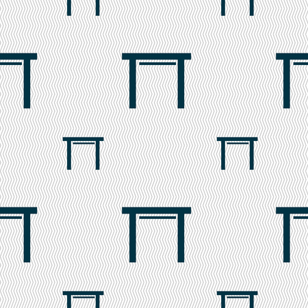 stool: stool seat icon sign. Seamless pattern with geometric texture. illustration