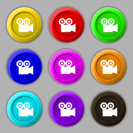 journalistic: video camera icon sign. symbol on nine round colourful buttons. illustration Stock Photo