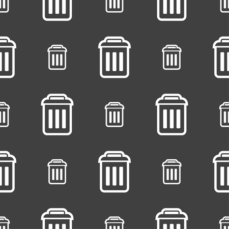 local supply: the trash icon sign. Seamless pattern on a gray background. illustration Stock Photo
