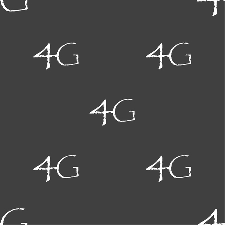 telecommunications: 4G sign icon. Mobile telecommunications technology symbol. Seamless pattern on a gray background. illustration