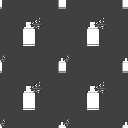 aerosol: Graffiti spray can sign icon. Aerosol paint symbol. Seamless pattern on a gray background. illustration Stock Photo