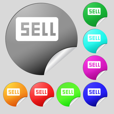 contributor: Sell, Contributor earnings icon sign. Set of eight multi-colored round buttons, stickers. illustration
