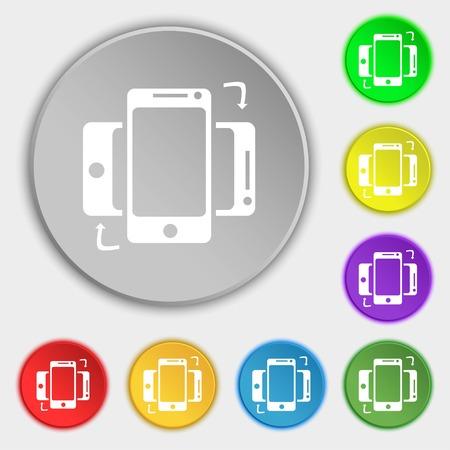 data synchronization: Synchronization sign icon. smartphones sync symbol. Data exchange. Symbols on eight flat buttons. illustration