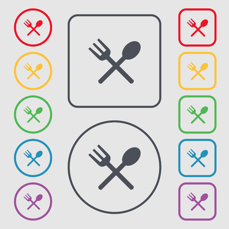 crosswise: Fork and spoon crosswise, Cutlery, Eat icon sign. Symbols on the Round and square buttons with frame. illustration