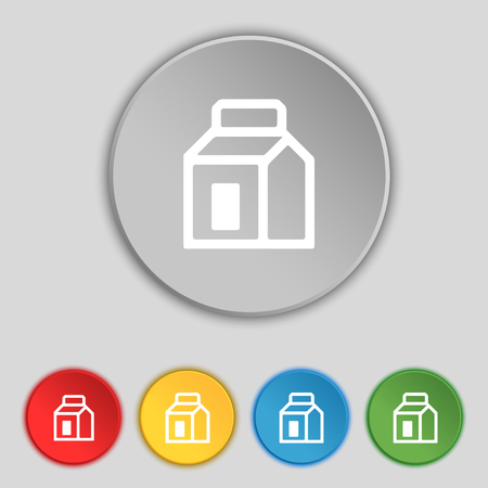 nectars: Milk, Juice, Beverages, Carton Package icon sign. Symbol on five flat buttons. illustration