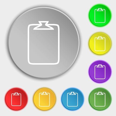 attach: File annex icon. Paper clip symbol. Attach sign. Symbols on eight flat buttons. illustration