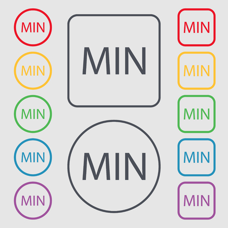 minimum sign icon. Symbols on the Round and square buttons with frame. illustration
