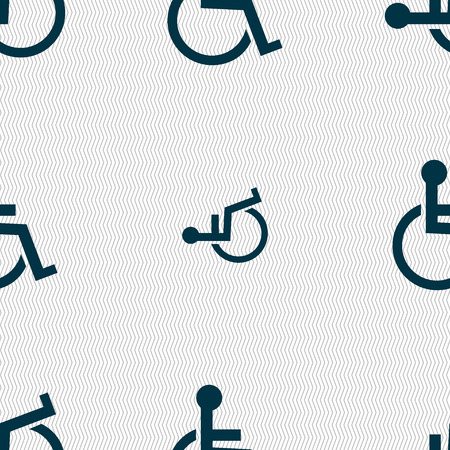 invalid: Disabled sign icon. Human on wheelchair symbol. Handicapped invalid sign. Seamless abstract background with geometric shapes. illustration Stock Photo