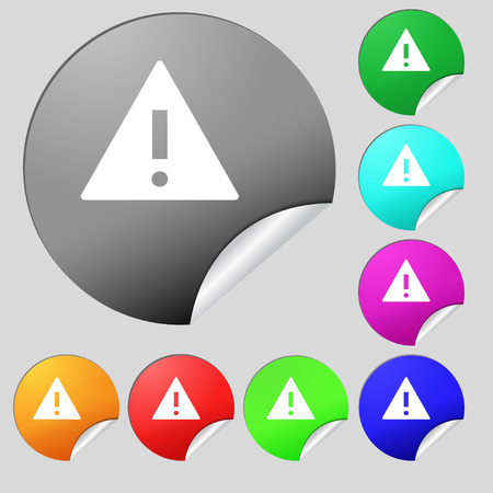 wrapped corner: Attention sign icon. Exclamation mark. Hazard warning symbol. Set of eight multi colored round buttons, stickers. illustration Stock Photo