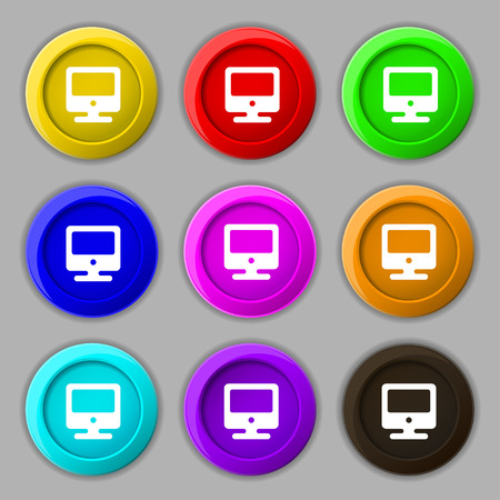 incrustation: monitor icon sign. symbol on nine round colourful buttons. illustration Stock Photo