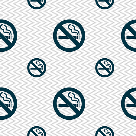 pernicious habit: no smoking icon sign. Seamless pattern with geometric texture. illustration