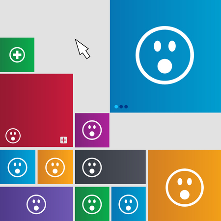 shaken: Shocked Face Smiley icon sign. Metro style buttons. Modern interface website buttons with cursor pointer. illustration