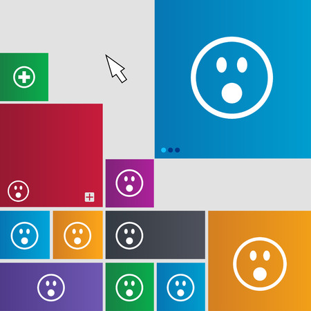 satisfied expression: Shocked Face Smiley icon sign. Metro style buttons. Modern interface website buttons with cursor pointer. illustration
