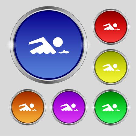 sport man: Swimming sign icon. Pool swim symbol. Sea wave. Set colourful buttons illustration