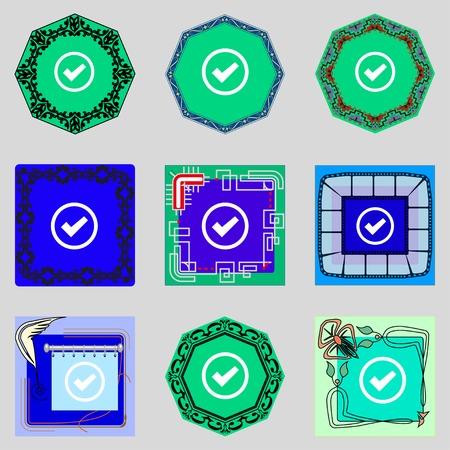 check mark sign: Check mark sign icon. Checkbox button. Set colourful buttons. illustration