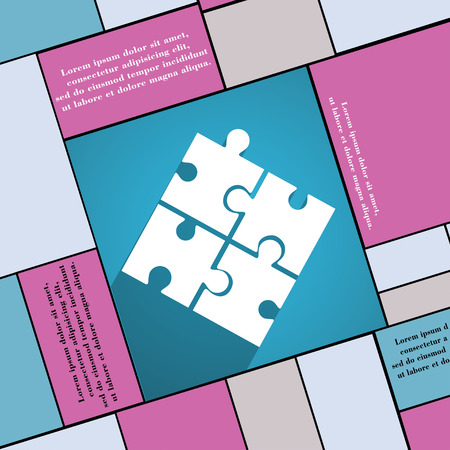 puzzle corners: Puzzle piece icon symbol Flat modern web design with long shadow and space for your text. illustration