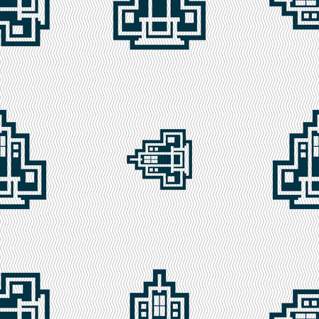 headquarter: skyscraper icon sign. Seamless pattern with geometric texture. illustration Stock Photo