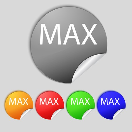 maximum: maximum sign icon. Set of colored buttons. illustration Stock Photo