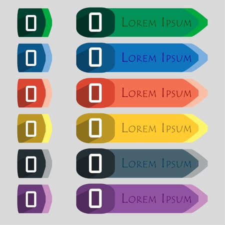 number zero: number zero icon sign. Set of coloured buttons. illustration