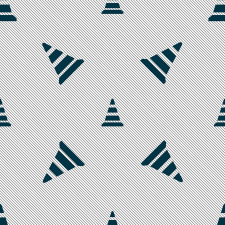 traffic pylon: road cone icon. Seamless pattern with geometric texture. illustration
