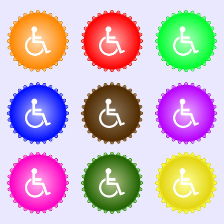 invalid: Disabled sign icon. Human on wheelchair symbol. Handicapped invalid sign. A set of nine different colored labels. illustration Stock Photo