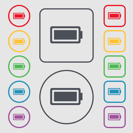 fully: Battery fully charged icon sign. symbol on the Round and square buttons with frame. illustration