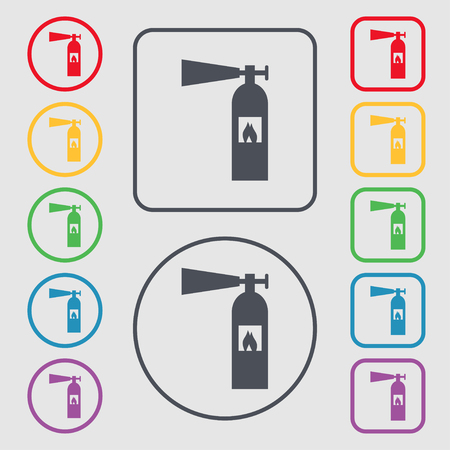 fire extinguisher icon sign. Symbols on the Round and square buttons with frame. illustration Banco de Imagens