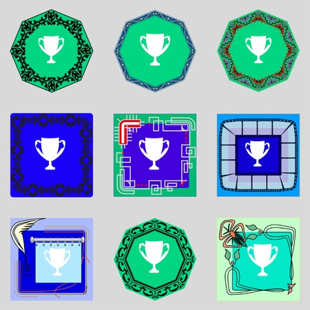 awarding: Winner cup sign icon. Awarding of winners symbol. Trophy. Set colourful buttons illustration