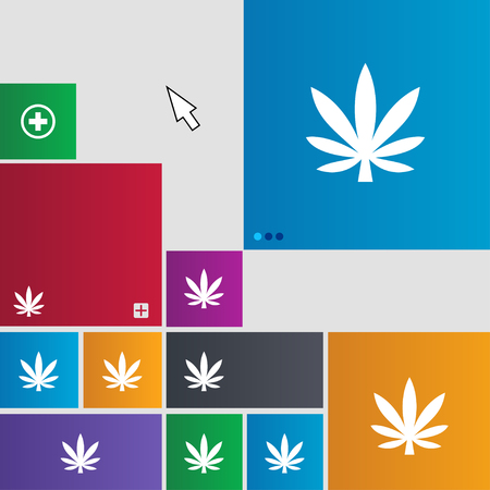 cannabinol: Cannabis leaf icon sign. Metro style buttons. Modern interface website buttons with cursor pointer. illustration Stock Photo