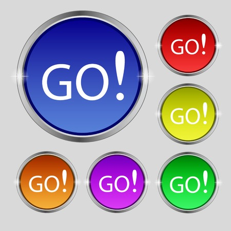 go sign: GO sign icon. Set of colored buttons. illustration Stock Photo
