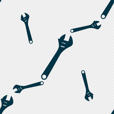 wrench icon sign. Seamless pattern with geometric texture. illustration