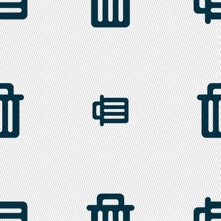 papelera de reciclaje: Reciclar el icono signo bin. Patr�n sin fisuras con textura geom�trica. ilustraci�n