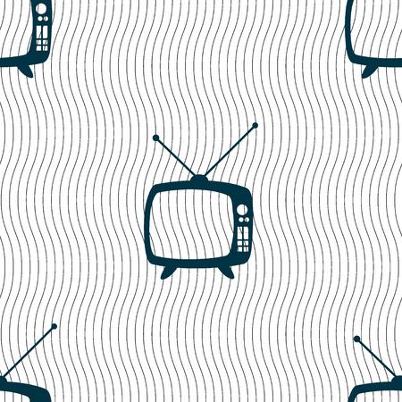 television set: Retro TV mode sign icon. Television set symbol. Seamless pattern with geometric texture. illustration