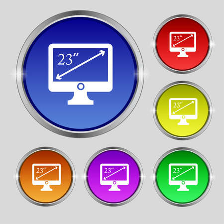 tokens: diagonal of the monitor 23 inches icon sign. Round symbol on bright colourful buttons. illustration