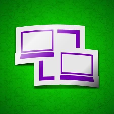 synchronization: Synchronization icon sign. Symbol chic colored sticky label on green background. illustration