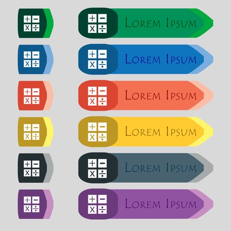 multiplicaci�n: Multiplicaci�n, divisi�n, m�s, menos icono de s�mbolo de Matem�ticas Matem�ticas Conjunto de botones de color ilustraci�n