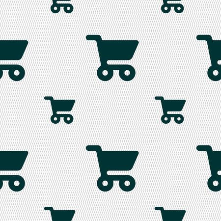 shopping basket: shopping basket icon sign. Seamless pattern with geometric texture. illustration Stock Photo