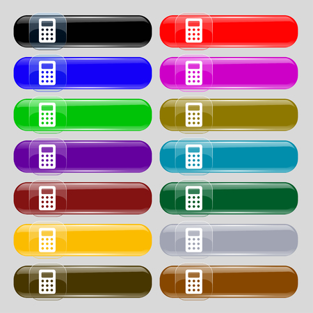 bookkeeping: Calculator, Bookkeeping icon sign. Set from fourteen multi-colored glass buttons with place for text. illustration