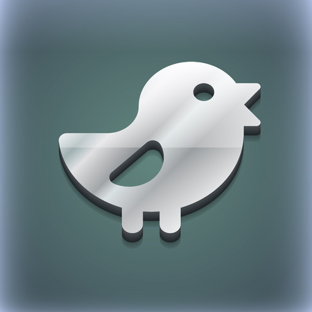 cluck: chicken, Bird icon symbol. 3D style. Trendy, modern design with space for your text illustration. Raster version