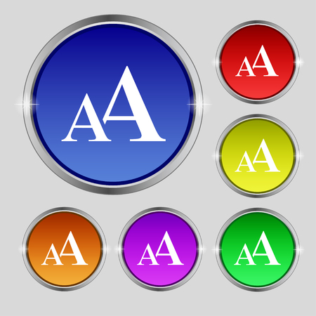 enlarge: Enlarge font, AA icon sign. Round symbol on bright colourful buttons. illustration