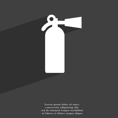 extinguishing: extinguisher icon symbol Flat modern web design with long shadow and space for your text. illustration