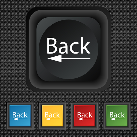 back button: Arrow sign icon. Back button. Navigation symbol. Set of colored buttons illustration