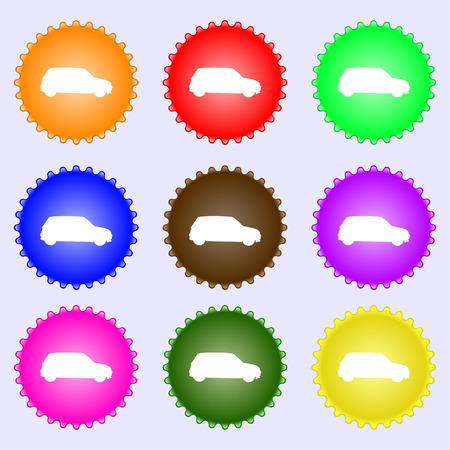 jeep: Jeep icon sign. A set of nine different colored labels. illustration
