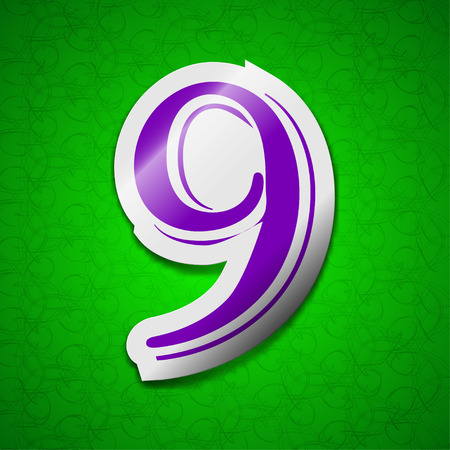 number Nine icon sign. Symbol chic colored sticky label on green background. illustration